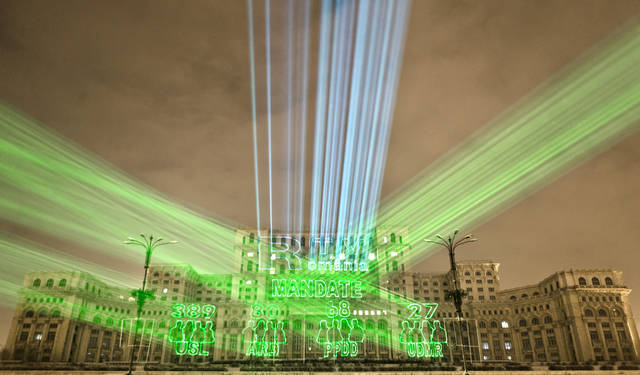 FILE - A picture taken on Dec. 10, 2012, shows lasers projecting the results in Romania's parliamentary elections on the facade of the Parliament Palace in Bucharest, Romania. Twenty-three years after communism collapsed, the Palace of the Parliament, a gargantuan Stalinist symbol and the most concrete legacy of ex-dictator Nicolae Ceausescu, has emerged as an unlikely pillar of Romania's nascent democracy. And while it remains one of the most controversial projects of Ceausescu's 25-year rule, albeit one that has gradually found a place in the nation's psyche, it's also now a tourist attraction, visited by tens of thousands of Romanians and foreigners every year. (AP Photo/Vadim Ghirda)