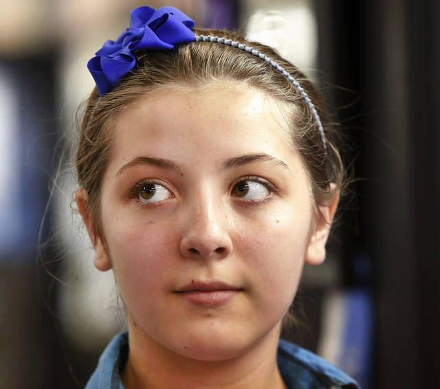 Arielle Quartuccio, 11, won a first place blue ribbon for her chicken-filled creamy crepes entry in the ages 11-18 division of the Shawnee Mills'  Kids' Pancakes, Flapjacks and Griddle Cakes Contest at the Oklahoma State Fair on Saturday, Sep. 22, 2012. The event was held in the Creative Arts Building. Jenkins lives in Norman.   Photo by Jim Beckel, The Oklahoman.
