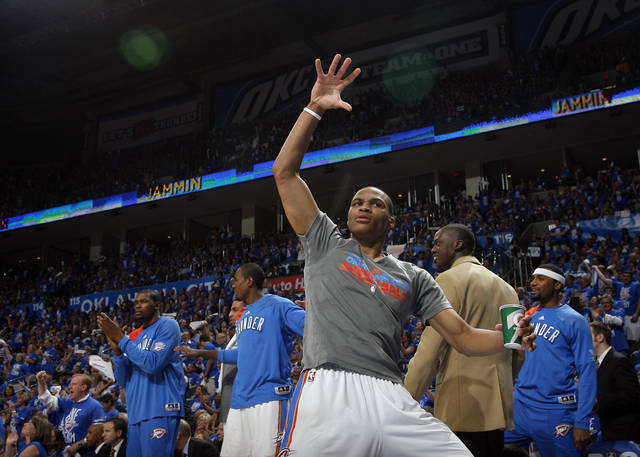 Oklahoma City's Russell Westbrook (0) celebrates during Game 1 in the second round of the NBA playoffs between the Oklahoma City Thunder and the L.A. Lakers at Chesapeake Energy Arena in Oklahoma City, Monday, May 14, 2012. Photo by Sarah Phipps, The Oklahoman