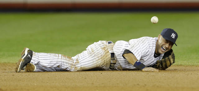 New York Yankees shortstop Derek Jeter reacts after injuring himself in the 12th inning of Game 1 of the American League championship series against the Detroit Tigers early Sunday, Oct. 14, 2012, in New York.(AP Photo/Paul Sancya ) ORG XMIT: NYY210