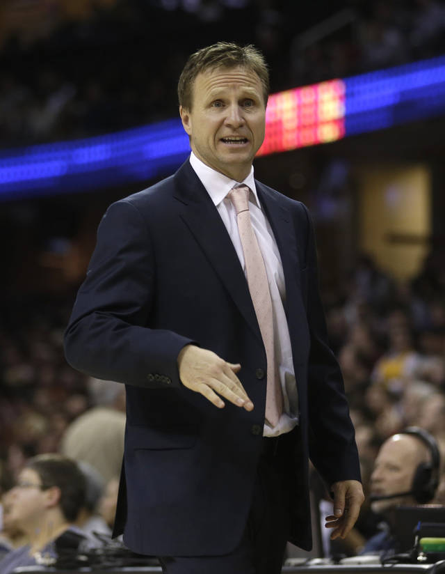 Oklahoma City Thunder head coach Scott Brooks reacts during the fourth quarter of an NBA basketball game against the Cleveland Cavaliers, Saturday, Feb. 2, 2013, in Cleveland. The Cavaliers won 115-110. (AP Photo/Tony Dejak) ORG XMIT: OHTD111