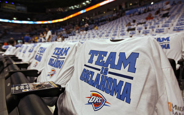 Thunder shirts fill the seats before Game 2 in the second round of the NBA playoffs between the Oklahoma City Thunder and the L.A. Lakers at Chesapeake Energy Arena on Tuesday,  May 15, 2012, in Oklahoma City, Oklahoma. Photo by Chris Landsberger, The Oklahoman