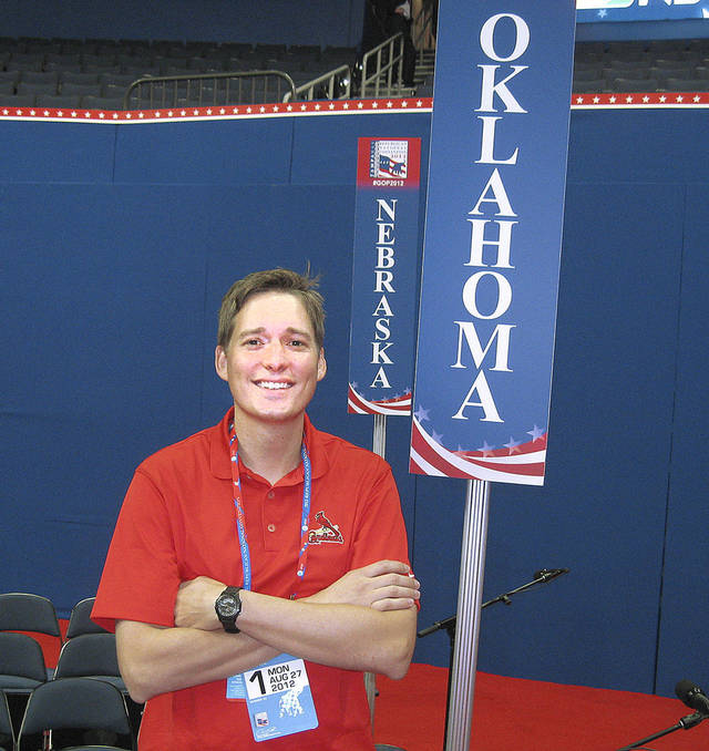 Matt Pinnell, chairman of the Oklahoma Republican Party, checks out the Oklahoma section Sunday as preparations continue for the Republican National Convention.  Photo by Chris Casteel, The Oklahoman