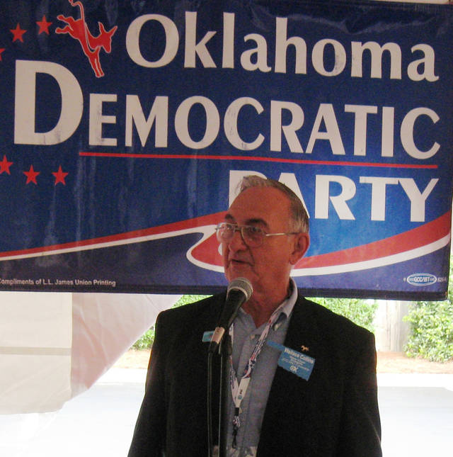 Oklahoma Democratic Party Chairman Wallace Collins speaks to state delegates in Charlotte, NC, on Monday on the eve of the Democratic National Convention <strong>Chris Casteel - The Oklahoman</strong>