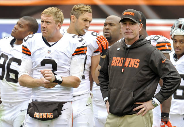 Cleveland Browns quarterback Brandon Weeden (3) stands on the sidelines with head coach Pat Shurmur in the final moments of a 24-14 loss to the Cleveland Browns in an NFL football game on Sunday, Sept. 23, 2012, in Cleveland. (AP Photo/David Richard)