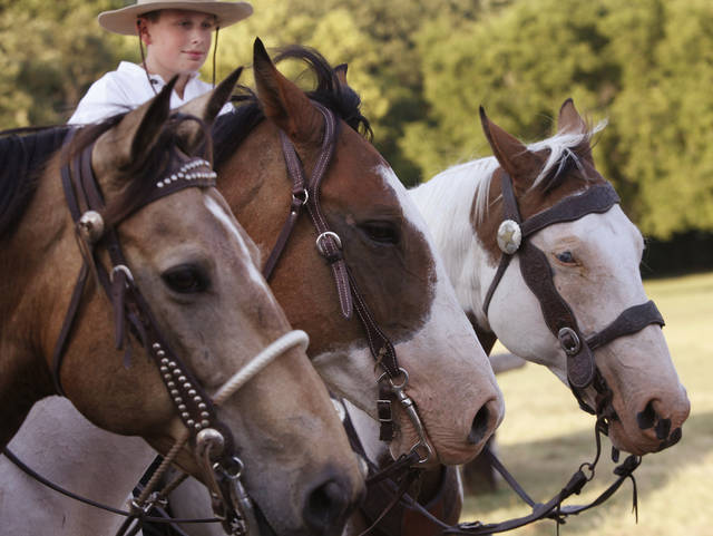 Horse and riders wait to perform in the Pawnee Bill Wild West Show at the Pawnee Bill Ranch in Pawnee, Oklahoma on Saturday,   June 23, 2012.  Photo by Jim Beckel, The Oklahoman