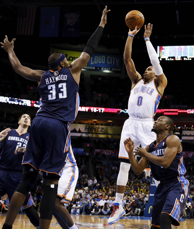 Oklahoma City's Russell Westbrook (0) shoots between Charlotte's Brendan Haywood (33) and Kemba Walker (15) during an NBA basketball game between the Oklahoma City Thunder and Charlotte Bobcats at Chesapeake Energy Arena in Oklahoma City, Monday, Nov. 26, 2012.  Photo by Nate Billings , The Oklahoman