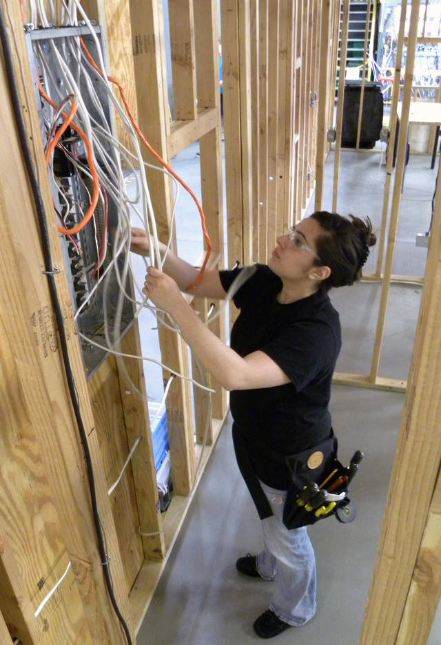 Erica McElyea is nearing completion of career training in Electrical Trades Technology. She likes the challenge of being the only female in her class and wants to go to work in the homebuilding industry.  PHOTO PROVIDED