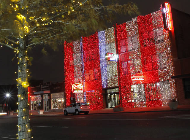 A view of Christmas lights on a building along Automobile Alley near 10th and Broadway during a light rain in downtown Oklahoma City, Monday, Dec. 12, 2011. Photo by Nate Billings, The Oklahoman