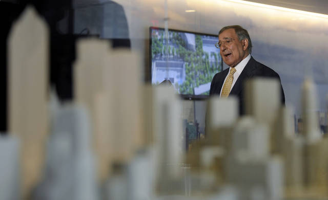 With a model of New York City in the foreground, Defense Secretary Leon Panetta speaks to reporters after touring the National September 11 Memorial & Museum in New York, Tuesday, Sept. 6, 2011. (AP Photo/Susan Walsh, POOL)