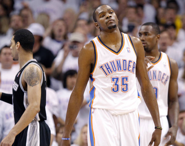 Oklahoma City's Kevin Durant (35) reacts after a foul during Game 6 of the Western Conference Finals between the Oklahoma City Thunder and the San Antonio Spurs in the NBA playoffs at the Chesapeake Energy Arena in Oklahoma City, Wednesday, June 6, 2012. Photo by Chris Landsberger, The Oklahoman