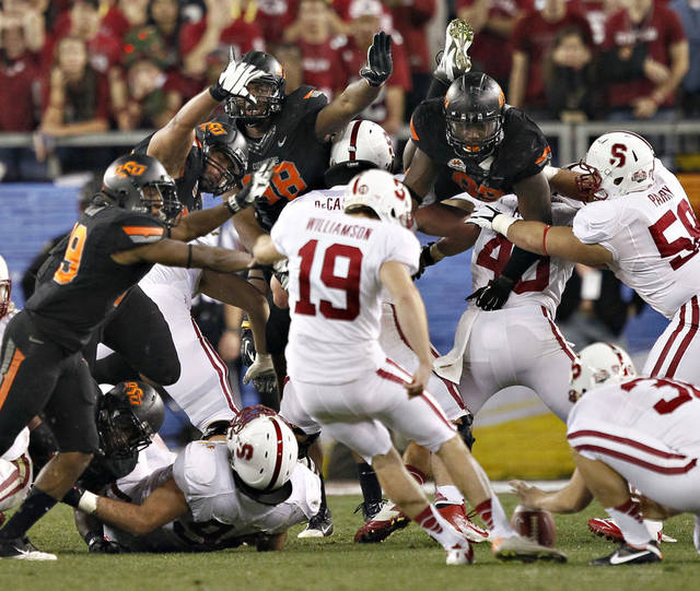 Stanford kicker Jordan Williamson kicks and misses a field-goal attempt in overtime during the Fiesta Bowl. AP Photo