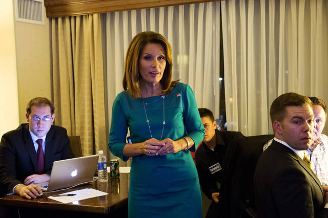   Rep. Michele Bachmann watches election results at the Republican Party of Minnesota Election Night Party, Tuesday, Nov. 6, 2012, at the Hilton Minneapolis Bloomington in Bloomington, Minn. (AP Photo/The Star Tribune, Glen Stubbe) MANDATORY CREDIT; ST. PAUL PIONEER PRESS OUT; MAGS OUT; TWIN CITIES TV OUT  
