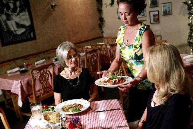 From left, Becky Varner, Cathy Cummings and Angi Bruss are shown during a video shoot at Vito's Ristorante in Oklahoma City. Photo by John Clanton, The Oklahoman <strong>JOHN CLANTON</strong>