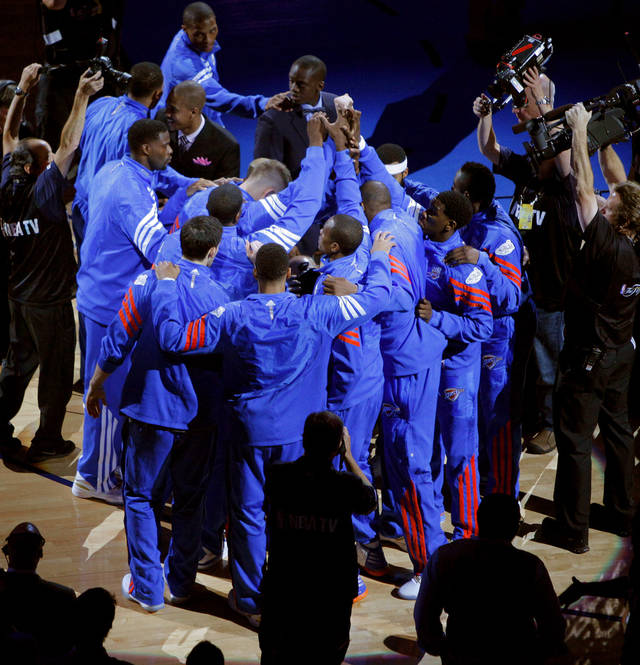 The Thunder gather before Game 1 of the NBA Finals between the Oklahoma City Thunder and the Miami Heat at Chesapeake Energy Arena in Oklahoma City, Tuesday, June 12, 2012. Photo by Bryan Terry, The Oklahoman