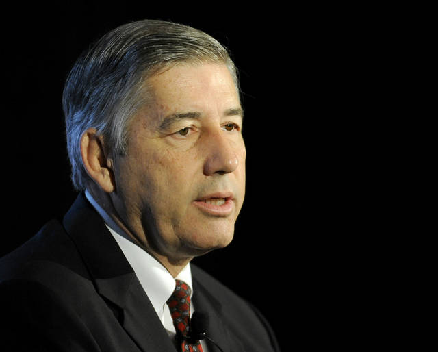 FILE - In this July13, 2012, file photo, Big 12 Commissioner Bob Bowlsby speaks during the NCAA college football Big 12 Media Days in Dallas. (AP Photo/Matt Strasen) ORG XMIT: NY158