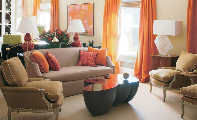 Orange you glad there's orange in the color palette? Nubby boiled wool curtains are instant room-warmers. Photo by William Abranowiez.
