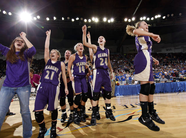 Okarche celebrates their win over Chattanooga in the finals of the Class A girls high school basketball state tournament  between Chattanooga and Okarche at the State Fair Arena, Saturday, March 6, 2010, in Oklahoma City. Photo by Sarah Phipps, The Oklahoman