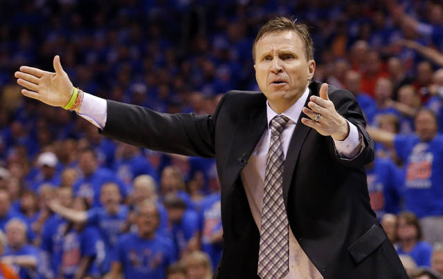 Oklahoma CIty head coach Scott Brooks argues a call during Game 5  in the first round of the NBA playoffs between the Oklahoma City Thunder and the Houston Rockets at Chesapeake Energy Arena in Oklahoma City, Wednesday, May 1, 2013. Photo by Sarah Phipps, The Oklahoman
