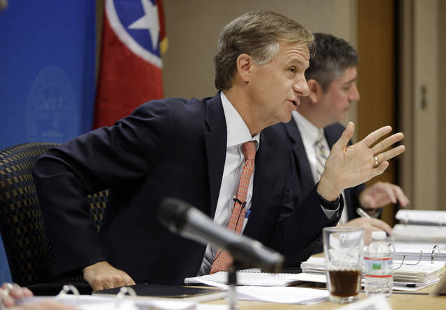 Gov. Bill Haslam oversees a state budget hearing on Tuesday, Nov. 13, 2012, in Nashville, Tenn. (AP Photo/Mark Humphrey)