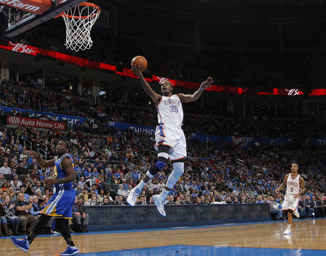 Oklahoma City &#039;s Kevin Durant (35) takes a shot during an NBA basketball game between the Oklahoma City Thunder and the Golden State Warriors at Chesapeake Energy Arena in Oklahoma City, Sunday, Nov. 18, 2012.  Photo by Garett Fisbeck, The Oklahoman