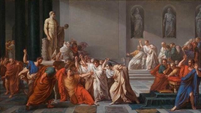 """Death of Julius Caesar,"" circa 1825-29, by Vincenzo Camuccini, is featured in the exhibit ""Of Heaven and Earth: 500 Years of Italian Painting from Glasgow Museums"" at the Oklahoma City Museum of Art. Photo provided by American Federation of Arts"