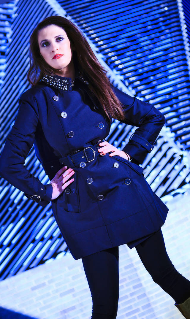 Sam Edelman trench coat with studded collar, available at Dillard's, Penn Square Mall. Model is Allora. Makeup by Dakota Gwaltney, The MakeUp Bar. Photo by Chris Landsberger, The Oklahoman. <strong>CHRIS LANDSBERGER</strong>