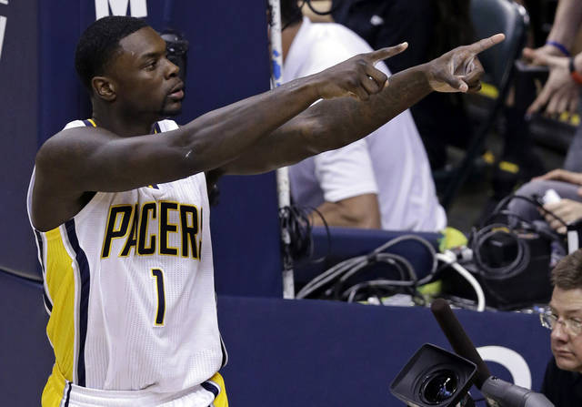 Pacers guard Lance Stephenson celebrates hitting a bucket and being fouled by the Knicks during the fourth quarter on Saturday. AP Photo