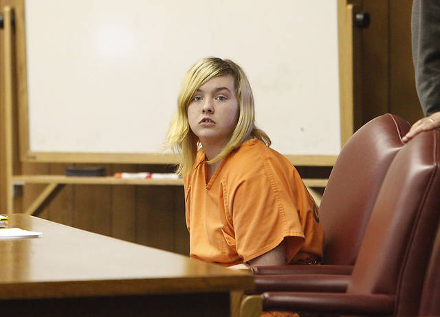 Kaleigh Lynn Fryer at the preliminary hearing on the murder of her father Lewis Fryer Jr. at the Logan County Courthouse, Thursday, July 29, 2010.         Photo by David McDaniel, The Oklahoman