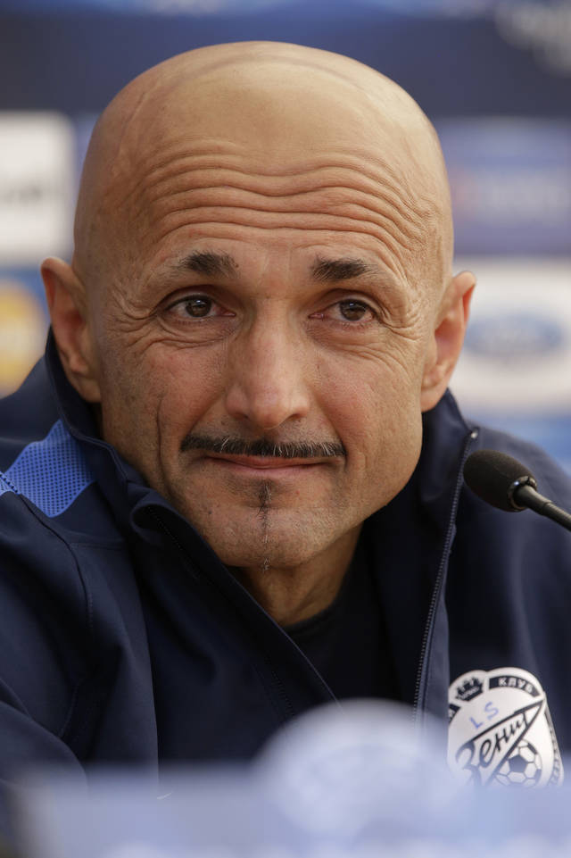 Zenit's head coach Luciano Spalletti speaks during a news conference in St.Petersburg, Russia, Tuesday, Oct. 2, 2012. Zenit will face AC Milan in the UEFA Champions League, group C, soccer match on Wednesday, Oct. 3. (AP Photo/Dmitry Lovetsky)