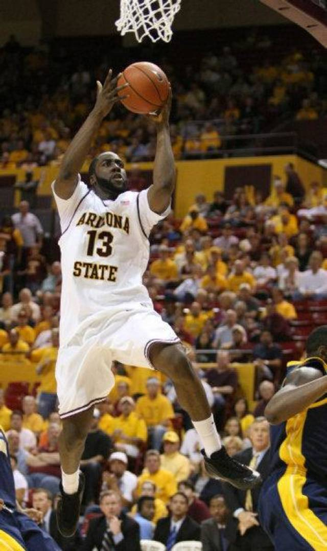 spt-asubkc0308 156175   Saturday 3/7/09  ASU #13 James Harden, cq, scores against California, cq, at Wells Fargo Arena in Tempe. Arizona Republic photo by Deirdre Hamill