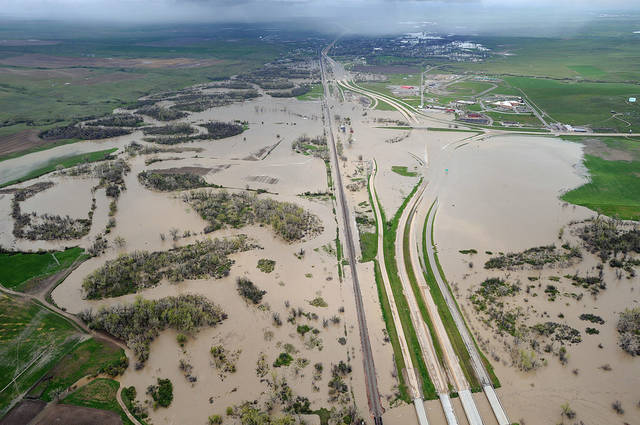 Flood water from the Little Bighorn River covers Interstate 90 near Crow Agency, Mont., in this aerial view on Sunday, May 22, 2011. (AP Photo/The Billings Gazette, Larry Mayer)