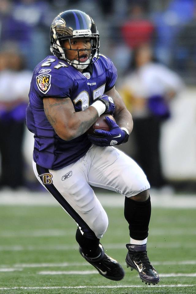   FILE - In this Dec. 11, 2011, file photo, Baltimore Ravens running back Ray Rice rushes the ball in the second half of an NFL football game against the Indianapolis Colts in Baltimore. The Ravens on Friday, March 2, 2012, placed the franchise tag on Rice, who will earn $7.7 million in 2012. (AP Photo/Gail Burton, File)  