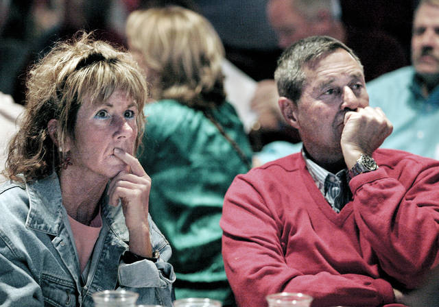 Jan Campbell, of Janesville, and Fred Falk, of Milton, watch in disbelief as the results of the Presidential race come in during a Republican results party at the Janesville Holiday Inn Express on Tuesday, Nov. 6, 2012, in Janesville, Wis. (AP Photo/The Janesville Gazette, Dan Lassiter)