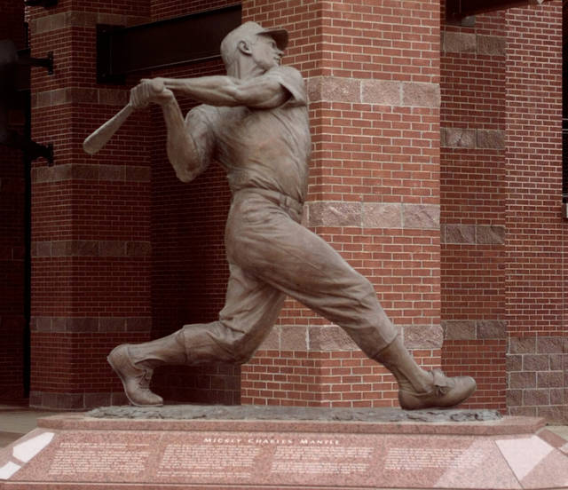 SCULPTURE: View of the Mickey Mantle statue outside the main entrance to the Bricktown Ballpark in downtown Oklahoma City.  Pix is for use in Countdown 2000 section.
