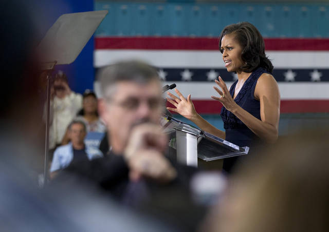 First Lady Michelle Obama speaks at a campaign rally, Friday, Oct. 26, 2012, in Las Vegas. (AP Photo/Julie Jacobson)