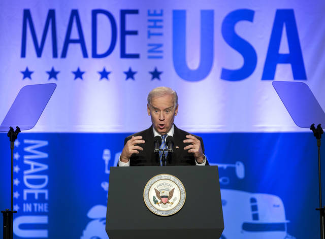 Vice President Joe Biden speaks at the 2013 Annual Conference of the Export-Import Bank in Washington, Friday, April 5, 2013. (AP Photo/Manuel Balce Ceneta)
