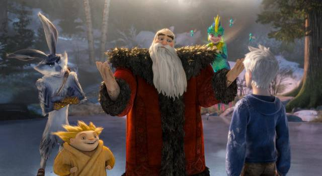 "The new animated adventure ""Rise of the Guardians"" features Santa Claus, the Easter Bunny, the Tooth Fairy and other mythical beings battling an evil spirit. From left, Bunny (voice of Hugh Jackman), Sandman, North (Alec Baldwin) and Tooth (Isla Fisher) try to recruit Jack Frost (Chris Pine). Paramount Pictures photo. <strong></strong>"