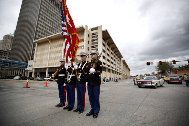 A U.S. Marine color guards stands at attention during the St. Patrick's Day Parade in Oklahoma City, Saturday, March 17, 2012. Photo by Sarah Phipps, The Oklahoman.