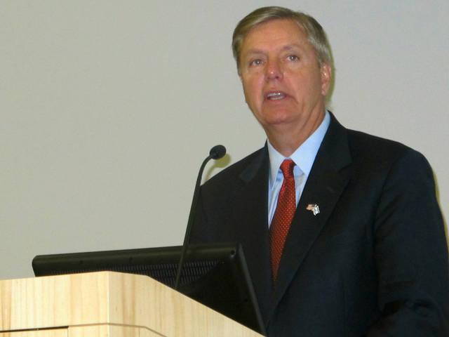 U.S. Sen. Lindsey Graham, R-S.C., speaks at a disaster conference at the Medical University of South Carolina in Charleston, S.C., on Monday, July 16, 2012. Graham warned that South Carolina, in addition to other disasters, needs to be prepared to deal with cyber-attacks.(AP Photo/Bruce Smith)
