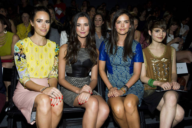 <p>From left to right Louise Roe, Odette Annable, Katie Lee Joel and Sami Gayle attend the Tracy Reese Spring 2013 show during Fashion Week in New York on Sunday, Sept. 9, 2012. (Photo by Charles Sykes/Invision/AP)</p>