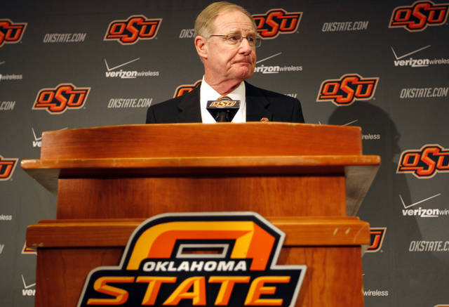 Oklahoma State president Burns Hargis speaks during a press conference about an Arkansas plane crash that killed women's basketball coach Kurt Budke, assistant coach Miranda Serna at Gallagher-Iba Arena in Stillwater, Okla.,  Friday, Nov. 18, 2011.  Photo by Sarah Phipps, The Oklahoman