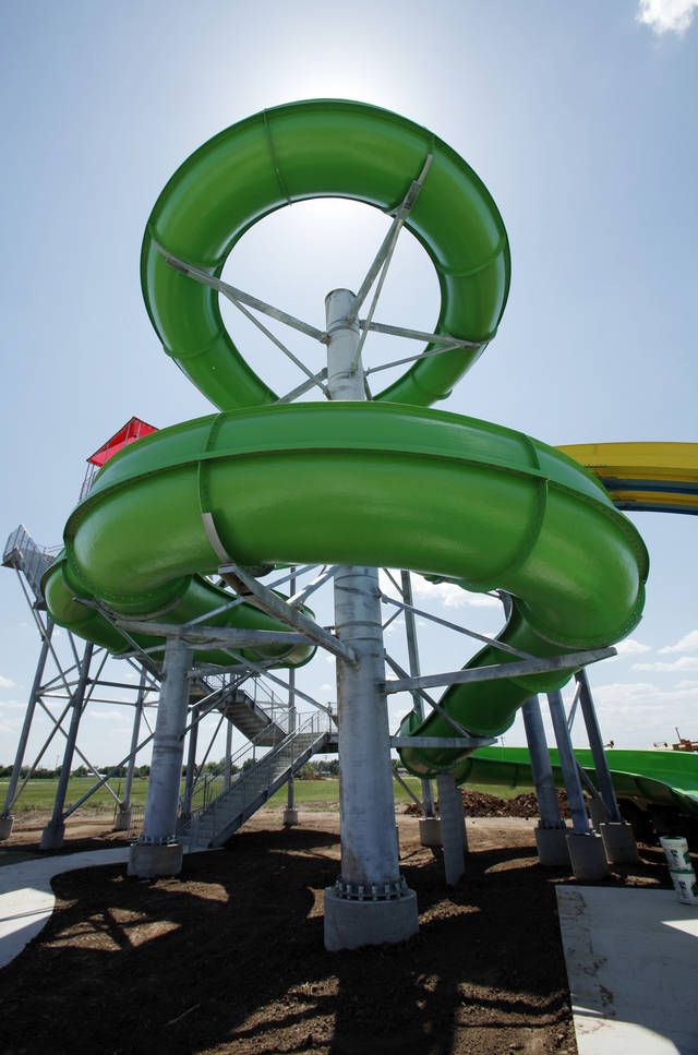 Workers put finishing touches on Andy Alligator's Water Park on Wednesday, May 9, 2012, in Norman, Okla.  The new 4.2 million dollar park opens Saturday.  Photo by Steve Sisney, The Oklahoman
