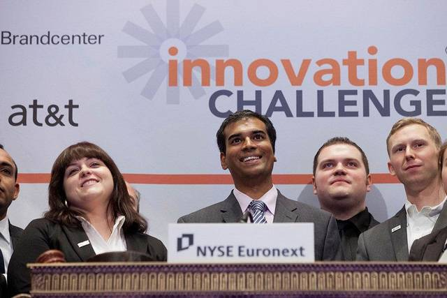 Oklahoman Ryan Dowling, seen here in the back row, was among winners of the 2011 Innovation Challenge who rang the closing bell at the New York Stock Exchange on Jan. 27.PHOTO PROVIDED