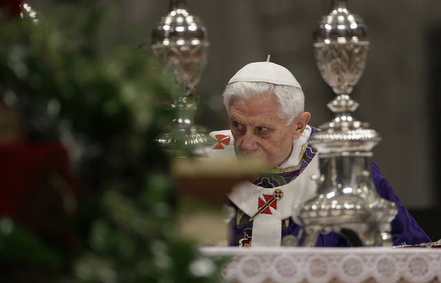 "Pope Benedict XVI celebrates the Ash Wednesday mass in St. Peter's Basilica at the Vatican, Wednesday, Feb. 13, 2013.  Ash Wednesday marks the beginning of Lent, a solemn period of 40 days of prayer and self-denial leading up to Easter. Pope Benedict XVI told thousands of faithful Wednesday that he was resigning for ""the good of the church"", an extraordinary scene of a pope explaining himself to his flock that unfolded in his first appearance since dropping the bombshell announcement. (AP Photo/Gregorio Borgia)"
