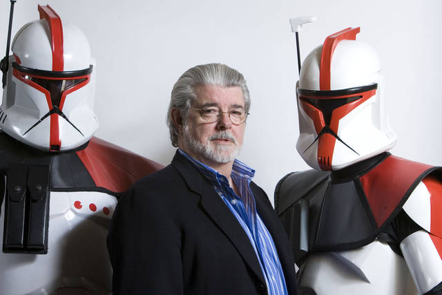 "FILE - In this March 13, 2008 file photo, director/producer George Lucas poses for portrait in Las Vegas. Lucas wrote and produced the upcoming movie ""Star Wars: The Clone Wars.""There�s no mistaking the similarities. A childhood on a dusty farm, a love of fast vehicles, a rebel who battles an overpowering empire, George Lucas is the hero he created, Luke Skywalker. (AP Photo/Matt Sayles, File)"