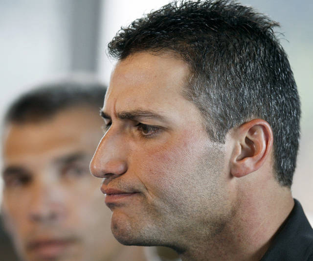 FILE - In this Feb. 18, 2008 file photo, then-New York Yankees' baseball pitcher Andy Pettitte answers questions during a news conference in Tampa, Fla. Pettitte has taken the stand in the Roger Clemens perjury trial, where Pettitte is expected to testify against his former teammate. (AP Photo/Julie Jacobson, File)