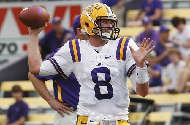 LSU Tigers quarterback Zach Mettenberger (8) during warms up before an NCAA college football game against North Texas in Baton Rouge, La. Saturday, Sept. 1, 2012. (AP Photo/Bill Haber)