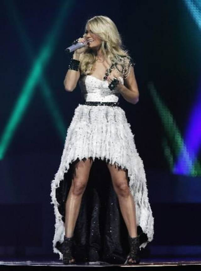Carrie Underwood performs an October 2012 show at Oklahoma City's Chesapeake Energy Arena. Photo by Garett Fisbeck, The Oklahoman Archives