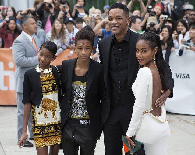 "<p>The Smith family, from left, Willow, Jaden Will Smith and Jada Pinkett-Smith pose for a photo on the red carpet for the movie ""Free Angela and All Political Prisoners"" at the 2012 Toronto International Film Festival in Toronto on Sunday, Sept. 9, 2012. (AP Photo/The Canadian Press, Michelle Siu)</p>"